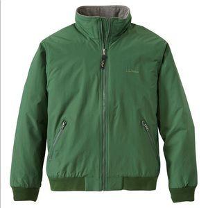 L.L. Bean Men's Green Warm-Up Jacket, Fleece Lined